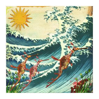 Canvas da água áspera dos dragões do mar