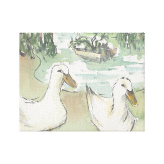 """Canvas da """"esboço aguarela/patos Paris """""""