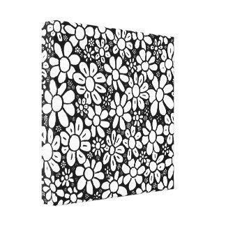 Canvas da flor preta & branca impressão de canvas envolvida