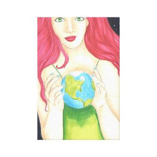 """Canvas da menina do espaço (11"""" x 16,5"""") impressão em tela"""