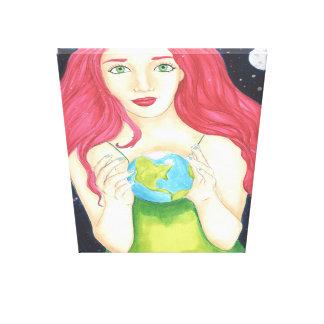 """Canvas da menina do espaço (32"""" x 48"""")"""