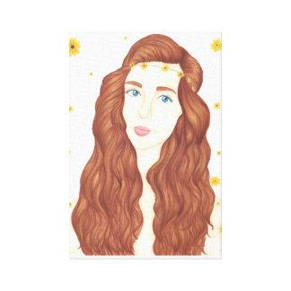 "Canvas da menina do girassol (11"" x 16,5"")"