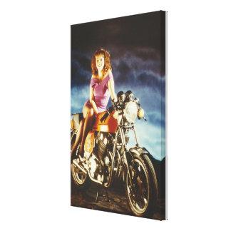 Canvas da menina e da motocicleta