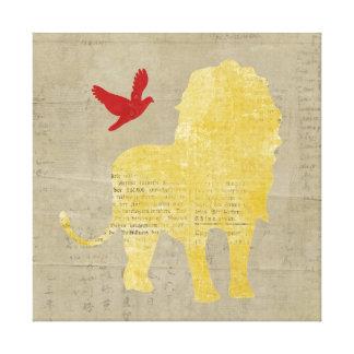 Canvas da silhueta do leão do vintage impressão de canvas envolvida