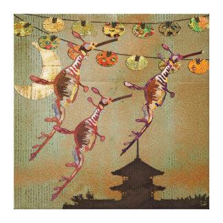Canvas da viagem do luar dos dragões do mar impressão de canvas envolvida