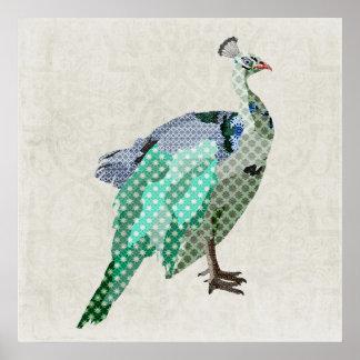 Canvas de arte do pavão poster