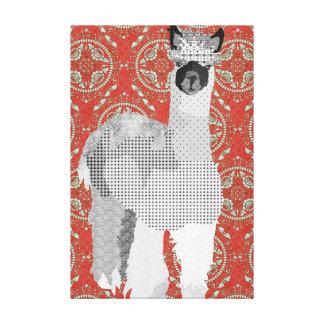 Canvas de arte vermelhas retros da alpaca impressão em tela
