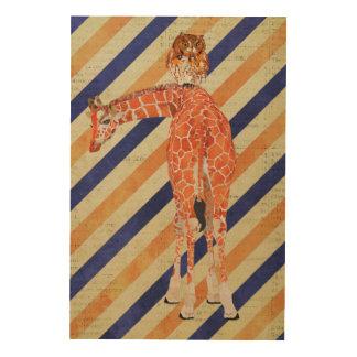Canvas de madeira ambarinas do girafa & da coruja