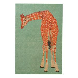 Canvas de madeira azuis do girafa ornamentado amba