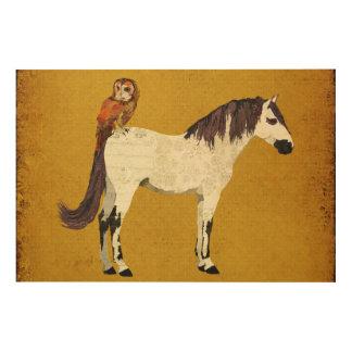 Canvas de madeira do cavalo branco da coruja