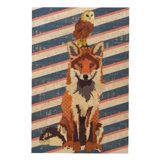 Canvas de madeira retros do Fox & da coruja