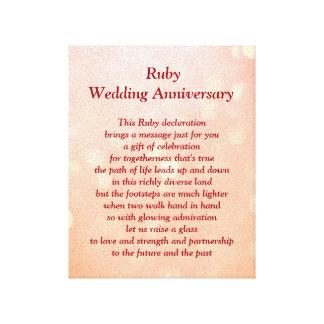 Canvas do aniversário de casamento do rubi