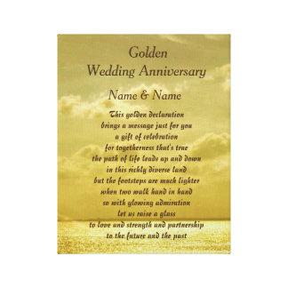 Canvas do aniversário de casamento dourado