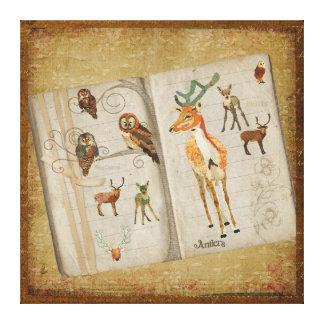 Canvas do bloco de desenho das corujas dos cervo impressão em tela canvas