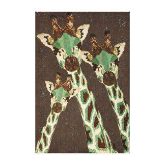 Canvas do damasco dos girafas da cerceta do cobr impressão de canvas envolvidas