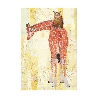 Canvas do girafa & da coruja impressão em tela