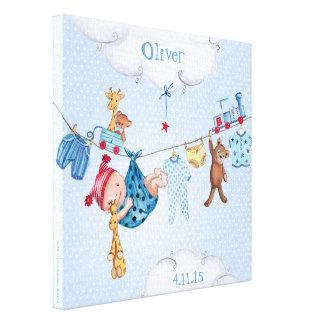 Canvas do menino do nascimento do clothesline do