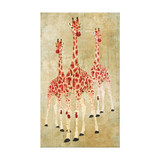 Canvas dos girafas da rosa vermelha do vintage