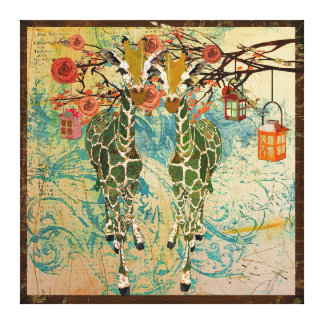 Canvas douradas do jardim de rosas dos girafas impressão em tela