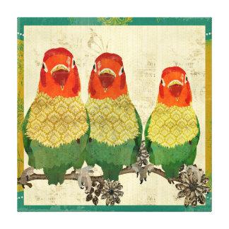Canvas douradas do vintage dos pássaros do amor impressão de canvas envolvida