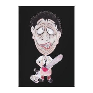 Canvas engraçadas da caricatura do carniceiro do impressão de canvas esticada