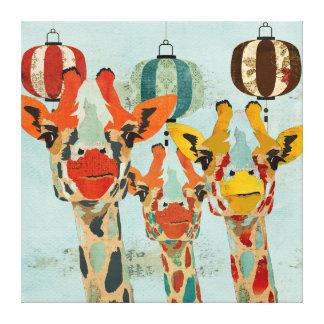 Canvas espreitando de três girafas impressão de canvas esticadas