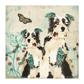 Canvas florais dos cães do vintage impressão em tela canvas