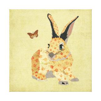 Canvas florais gastos do coelho impressão em tela
