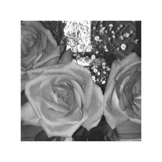 Canvas preto e branco da parede dos rosas impressão em tela