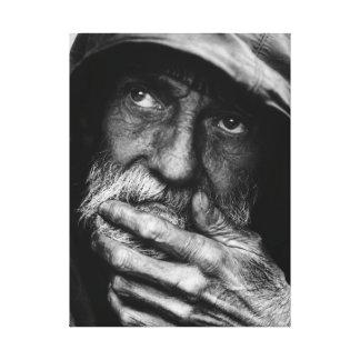 Canvas preto e branco do retrato do pobre homem id impressão em tela