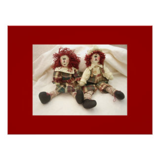Canvas Raggedy das bonecas de pano de Ann & de And Pôster
