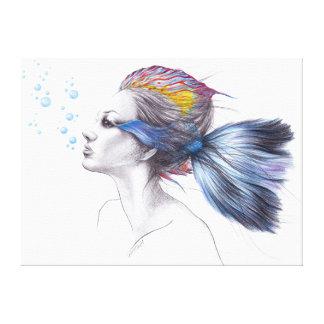 Canvas surreais da arte dos peixes bonitos da