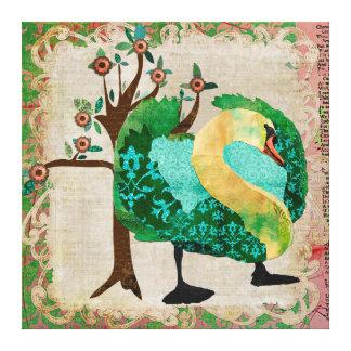Canvas tropicais da história da cisne impressão em tela