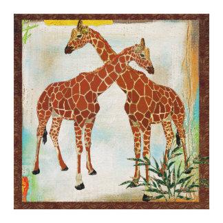 Canvas tropicais dos girafas impressão de canvas envolvidas