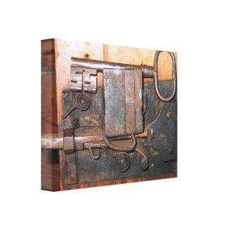 Canvas velhas da fechadura da porta e da chave impressão em canvas