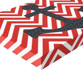 Canvas vermelhas e pretas da âncora impressão de canvas esticada