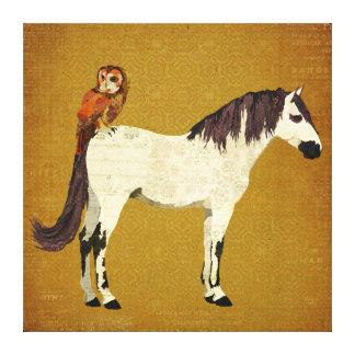 Canvas violetas do ouro do cavalo & da coruja impressão em tela