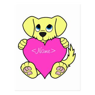 Cão amarelo do dia dos namorados com coração cartão postal