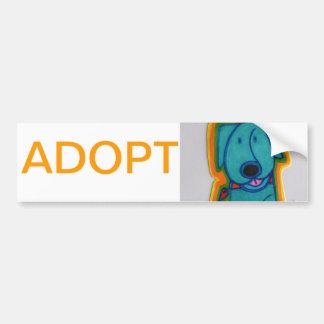 Cão azul com coração adesivo para carro