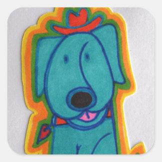 Cão azul com coração adesivo em forma quadrada
