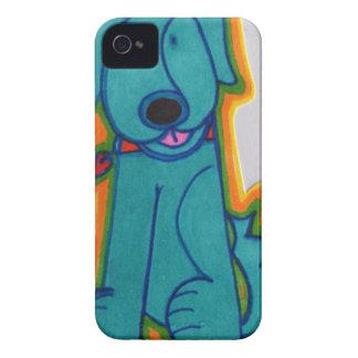 Cão azul com coração capinhas iPhone 4
