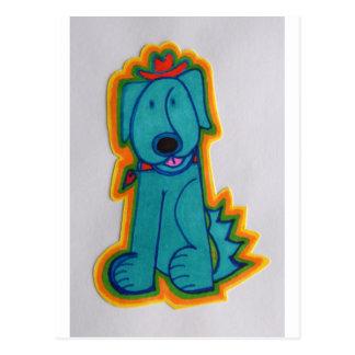 Cão azul com coração cartão postal