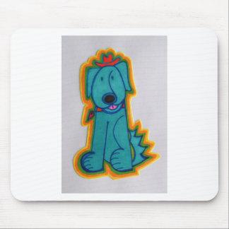 Cão azul com coração mouse pad