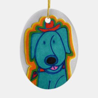 Cão azul com coração enfeites