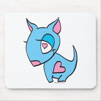 Cão azul com coração mousepads