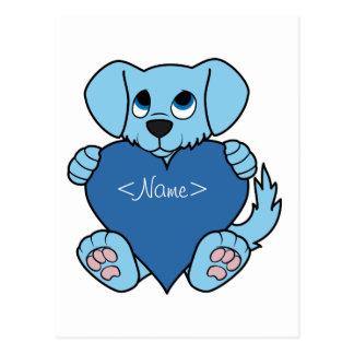 Cão azul do dia dos namorados com coração cartão postal