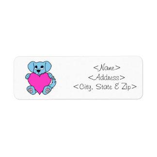 Cão azul do dia dos namorados com coração etiqueta endereço de retorno