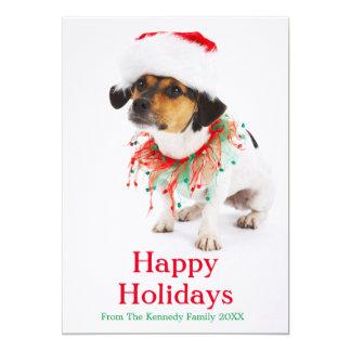 Cão com colar do Natal e chapéu do papai noel Convite 12.7 X 17.78cm