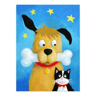 Cão com osso & gato - cartão de Natal engraçado Convite 13.97 X 19.05cm