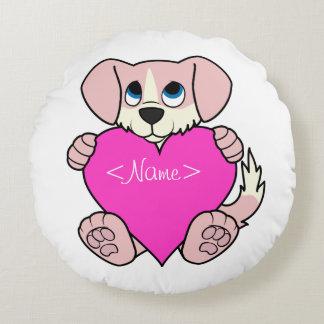 Cão cor-de-rosa do dia dos namorados com coração almofada redonda